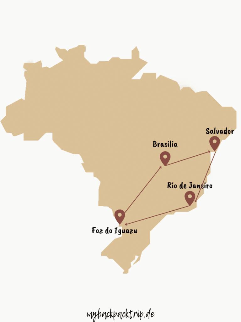 Karte mit einer Brasilien Rundreise Route