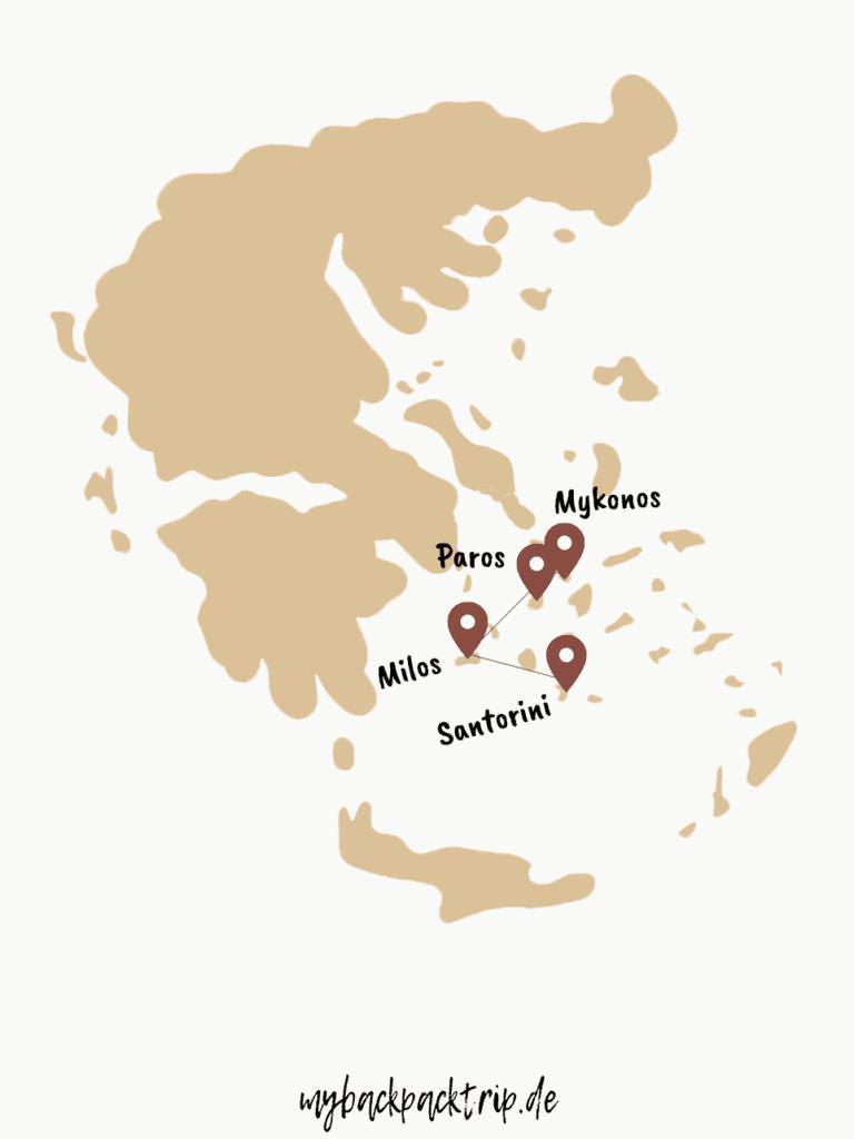 Rundreise, Inselhopping Route Klykadeninseln Griechenland Reisetipps und Highlights