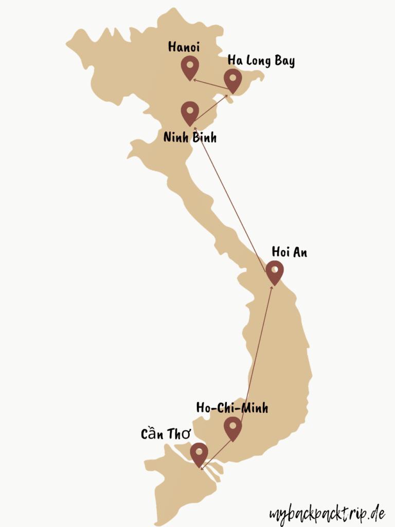 Karte mit einer Vietnam Rundreise Route