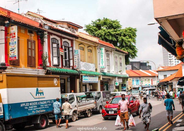 Straße in Little India, Singapur