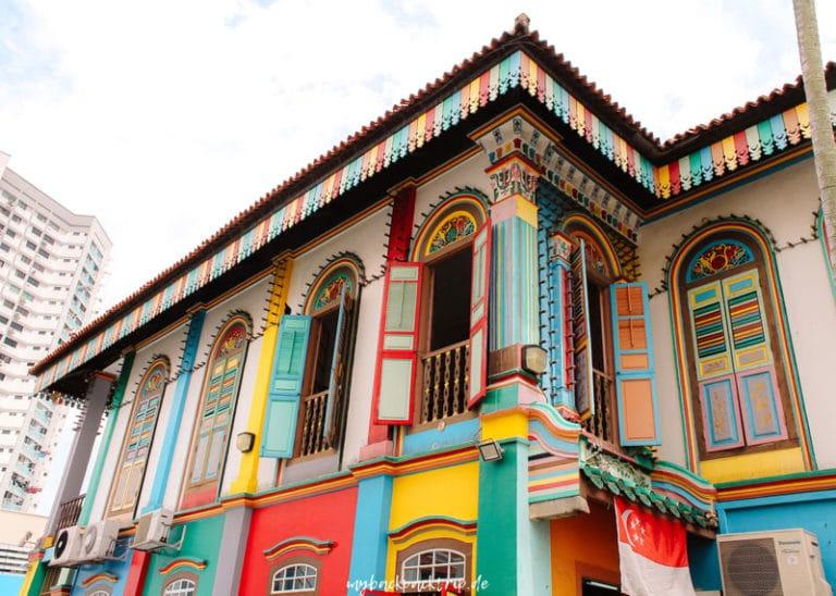 Buntes Haus in Little India, Singapur