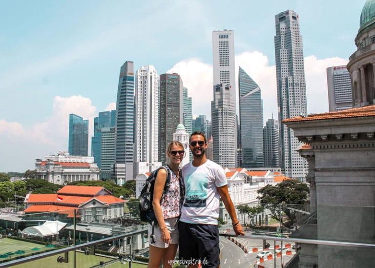 Blick von der Dachterrasse der National Gallery in Singapur