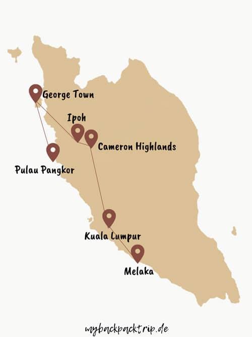 Rundreise Malaysia Route