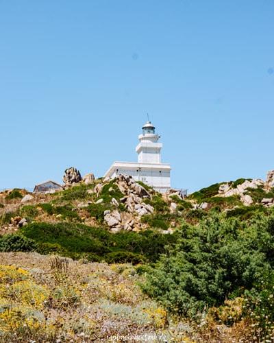 Leuchtturm auf Felsen die von Wiesen umgeben sind