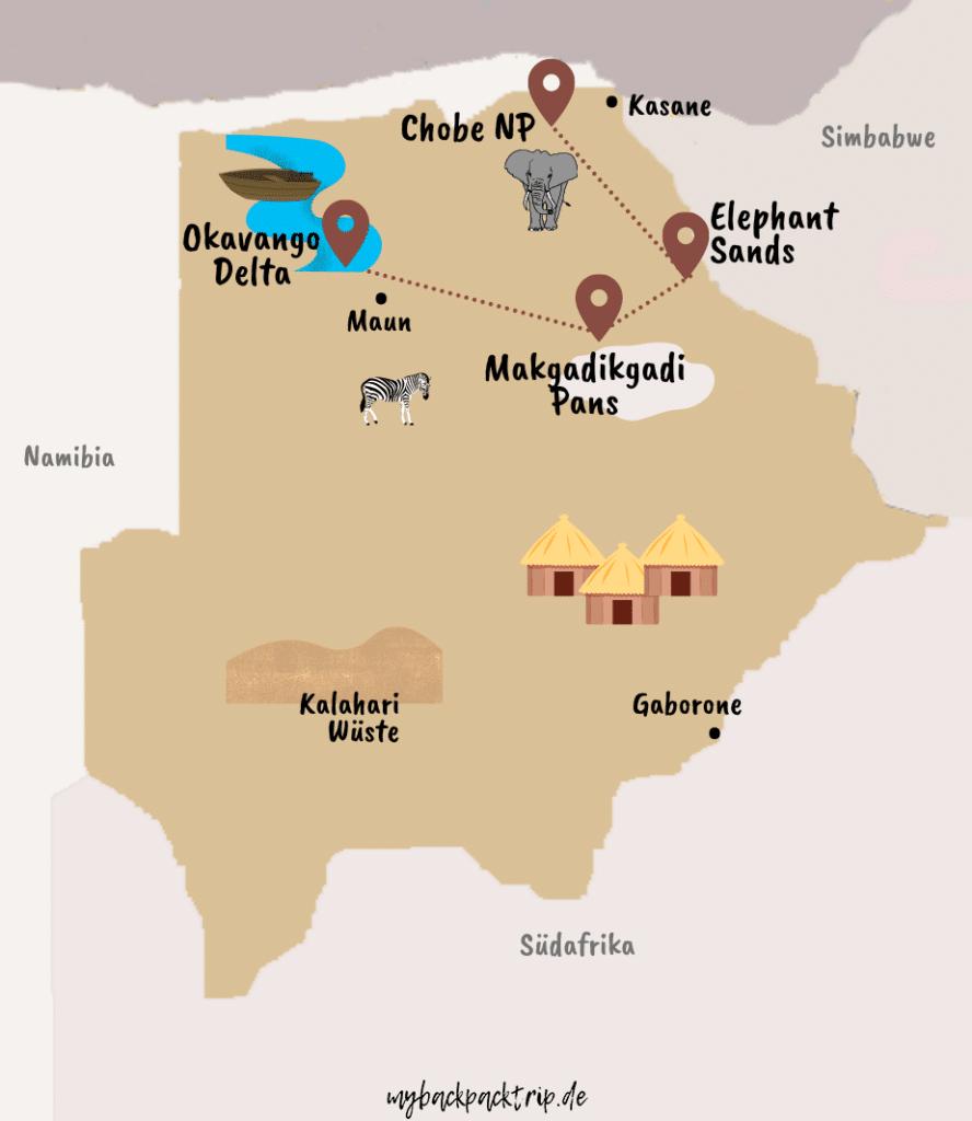 Botsuana Rundreise Route