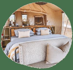 Zelt im Gomoti Plains Camp, Botswana