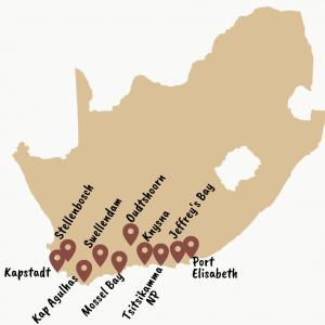 Karte mit der Gardenroute Südafrika: Rundreiseroute: Kapstadt, Stellebosch, Kap Agulhas, Swellendam, Oudtshoorn, Kynsna, Mossel Bay, Port Elisbeth