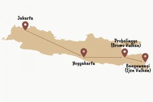 Karte mit einer Reiseroute über Java in Indonesien