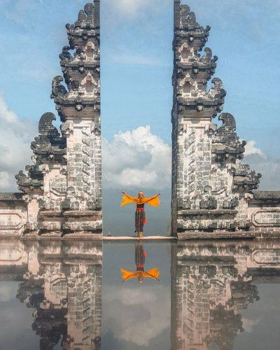 Der Lempuyang Tempel auf Bali mit Blick auf den Mount Agung